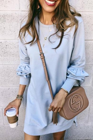 Casual Street Girls' Long Sleeve Crew Neck Ruffled Trim Plain Short Shift T Shirt Dress