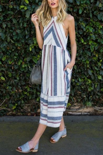 Coast Fancy Girls' Sleeveless Crew Neck Stripe Print Cut Out Back Linen Long Pleated Flowy Dress in White