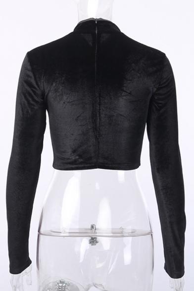 Dark Street Vintage Long Sleeve Band Collar Frog Button Down Zip Back Black Velvet Crop Tee for Female