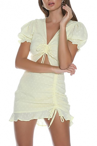 Edgy Girls Simple Polka Dot Hollow Out Drawstring Ruched Front Short Sleeve Yellow Mini Dress