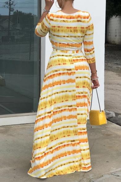 Female Casual Yellow Three-Quarter Sleeve Surplice Neck Stripe Print Bow Tie Waist Long Flowy Dress