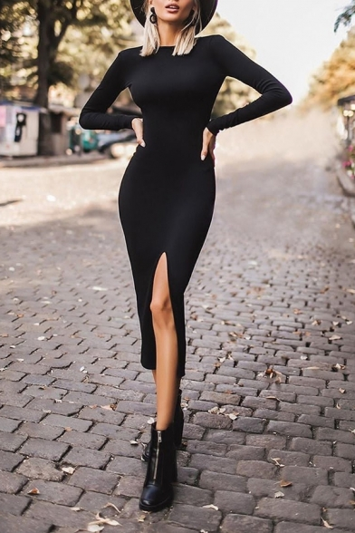 Formal Gorgeous Ladies' Long Sleeve Crew Neck Hollow Out Back Slit Front Plain Long Bodycon Dress