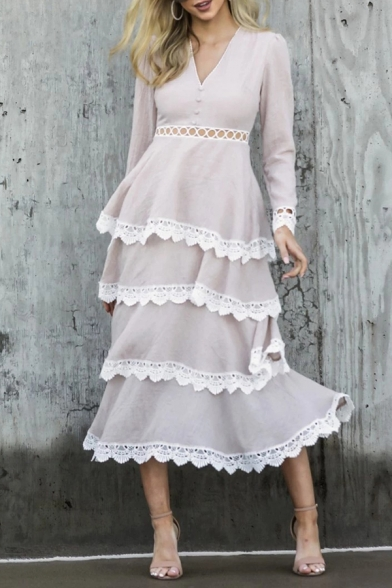 Formal Stylish Ladies' Long Sleeve V-Neck Button Hollow Out Waist Tiered Lace Trim Long A-Line Dress in Apricot