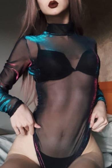 Gothic Girls' Long Sleeve High Neck Sheer Black Mesh Fitted Bodysuit for Club