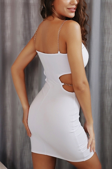 Ladies Fashionable Plain White Cut Out Chain Embellished Mini Fitted Strap Dress