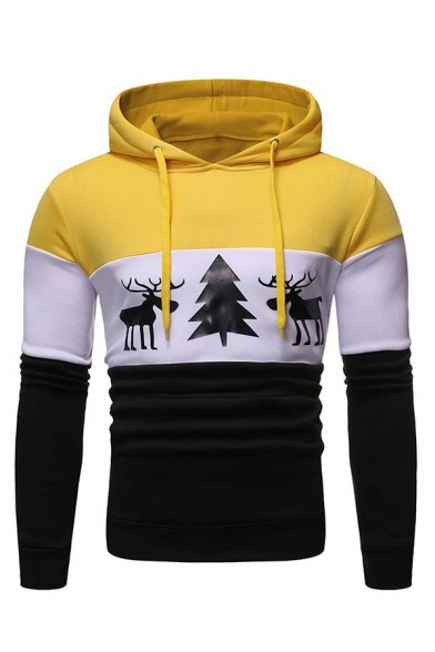 Mens Active Colorblocked Striped Reindeer Printed Long Sleeve Fitted Holiday Hoodie