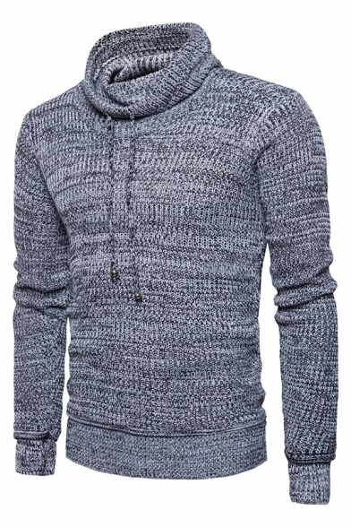Mens Casual Plain Drawstring Cowl Neck Long Sleeve Slim Fit Chunky Knit Pullover Sweater