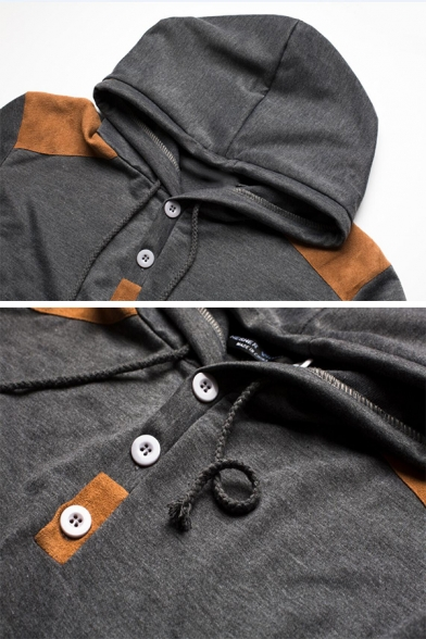 Mens Leisure Suede Patch Long Sleeves Button Front Slim Fit Drawstring Hoodie