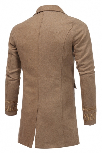 Mens Vintage Notched Collar Long Sleeve Embroidery Printed Cuff Double Button Longline Plain Woolen Coat