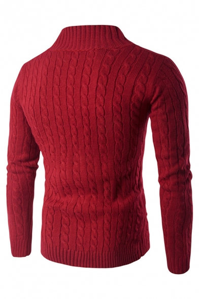 Red Plain Half Zip Placket Long Sleeve Slim Fit Cable Knit Pullover Sweater