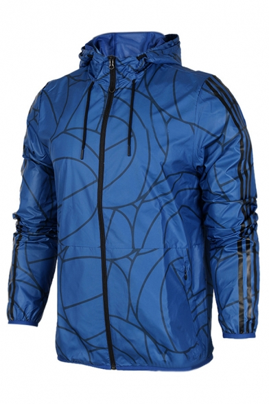 Stylish Geo Pattern Long Sleeve Zip Up Loose Fit Thin Track Jacket with Hood