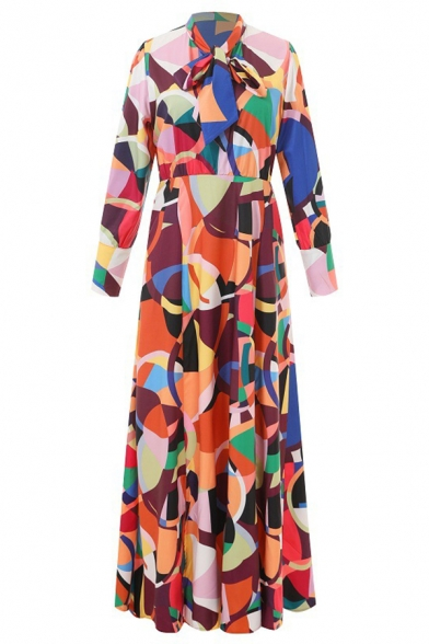 Stylish Ladies' Long Sleeve Band Collar Neck Bow Tied Geometric Patterned Slit Side Maxi Flowy Dress in Orange