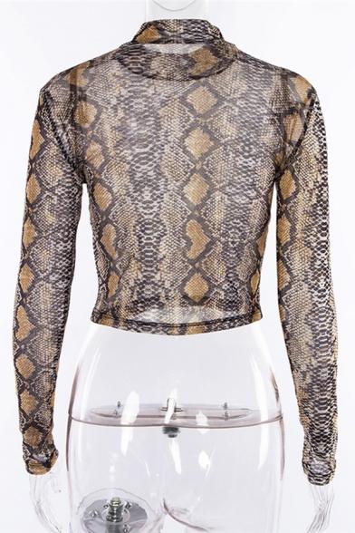 Tshirt court en maille à manches longues et col montant à imprimé serpentpour femmes élégantes
