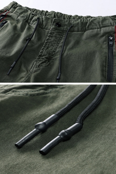 Unique Letter Tape Embellished Zip Front Army Green Plain Casual Pencil Pants