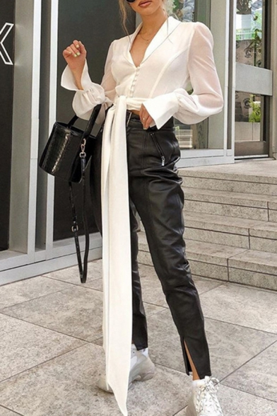 White Elegant Blouson Sleeve Deep V-Neck Button Down Tied Front Fitted Crop Blouse Top for Ladies