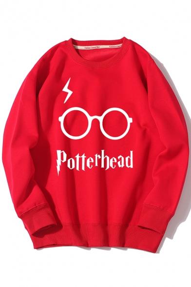 Winter Chic POTTERHEAD Letter Glasses Lightning Pattern Crew Neck Thick Sweatshirt