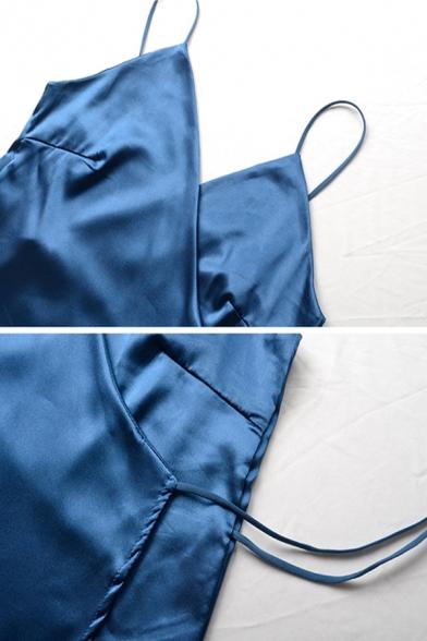 Womens Casual Plain Blue Silk V-Neck Side Tied Sleeveless Mini Wrap Cami Dress