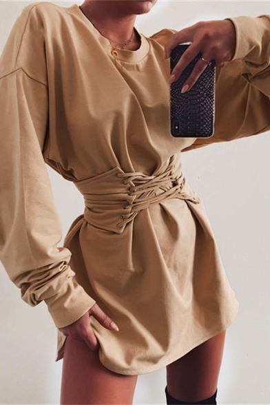 Womens Casual Plain Round Neck Long Sleeve Lace Up Gathered Waist Mini A-Line T-Shirt Dress