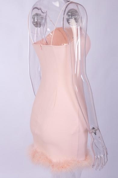 Womens New Stylish Plain Feather-Trimmed Hem Mini Bodycon Strap Dress for Night Club