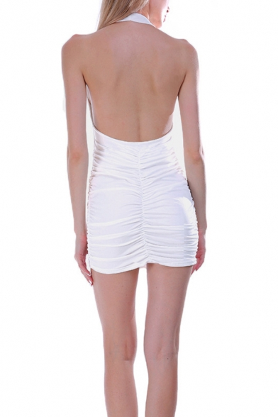 Womens Popular Solid Color Halter Neck Open Back Mini Nightclub Bandage Dress