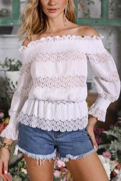 Womens Sexy Plain White Ruched Off the Shoulder Bell Long Sleeve Lace Shirt Blouse