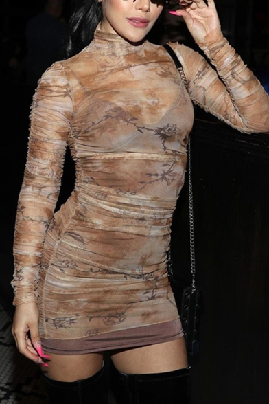 Brown Fancy Cartoon Pattern Long Sleeve High Collar Mini Ruched Tulle Dress for Night Club