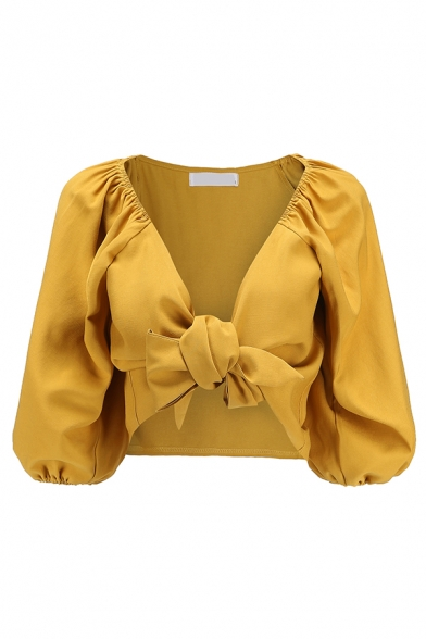 Edgy Yellow Women's Blouson Sleeve Deep V-Neck Pleated Knot Slim Fit Crop Blouse Top