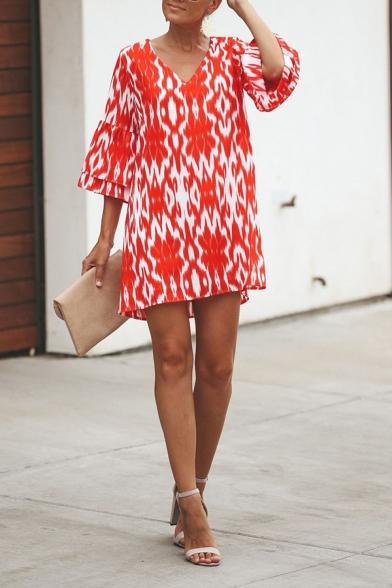 Fashion Ladies' Tiered Sleeve V-Neck Leopard Print Plain Mini Swing Dress