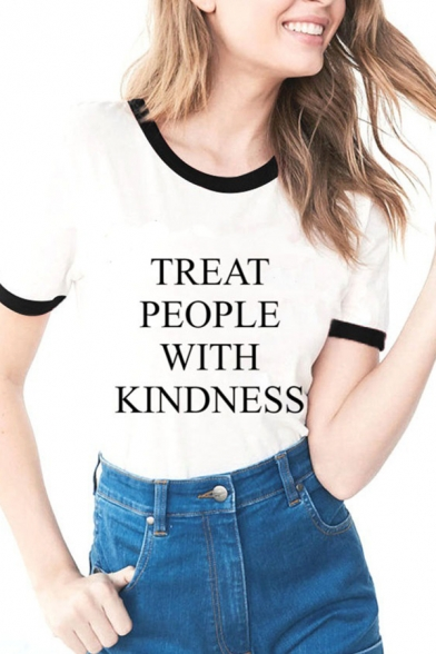 Girls Casual Contrast Trim Letter TREAT PEOPLE WITH KINDNESS Print Short Sleeve Fitted T-Shirt