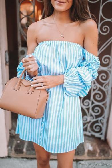 Glamorous Blue Puff Sleeve Off The Shoulder Stripe Print Bow Tie Waist Mini A-Line Dress for Ladies