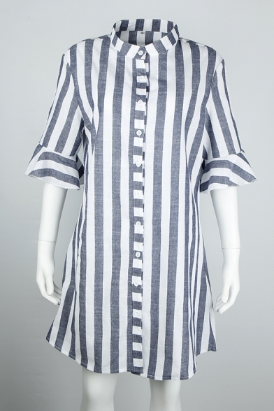 Grey Vertical Stripes Printed Bell Half Sleeve Single Breasted Longline Shirt