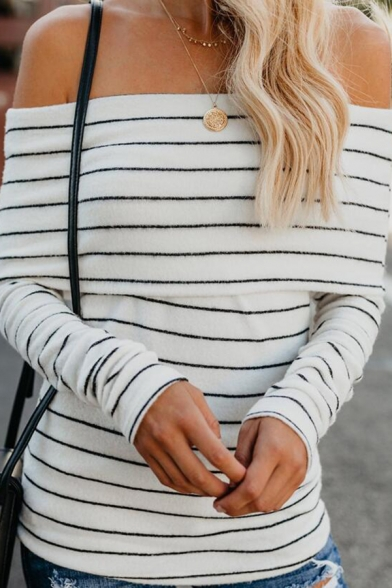 Ladies Fashionable Stripe Printed Foldover Off the Shoulder Long Sleeve Slim Fitted White T-Shirt