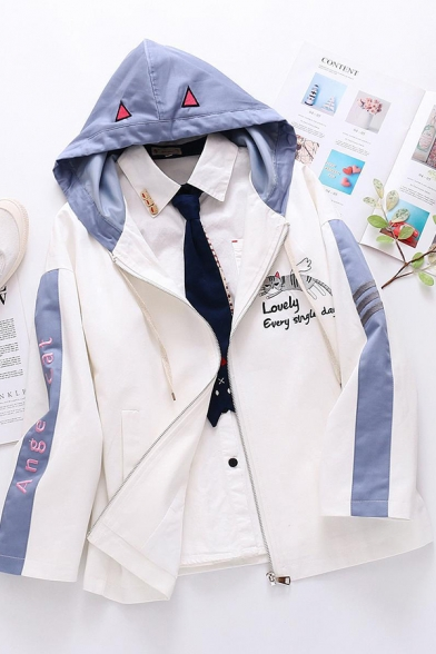 Lovely Embroidery Cat Letter Printed Colorblock Long Sleeve Zip Up White Hooded Jacket
