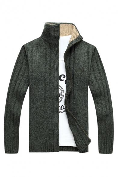 Mens Casual Stand Collar Long Sleeve Zip Placket Casual Dark Green Knitted Cardigan Jacket