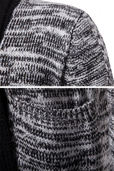 Mens Classic Contrast Trim Long Sleeve Tunic Chunky Knitted Open Cardigan Coat with Pocket