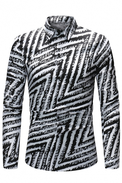 Mens Trendy Geo Zigzag Printed Long Sleeve Button Down Slim Black and White Shirt