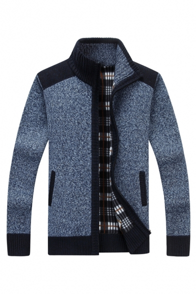 New Trendy Colorblock Elbow Patch Long  Sleeve Stand Collar Zipper Placket Blue Casual Fitted Jacket Cardigan
