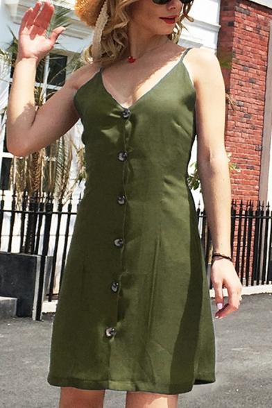 Plain Cute Sleeveless Deep V-Neck Button Down Short A-Line Cami Dress for Ladies