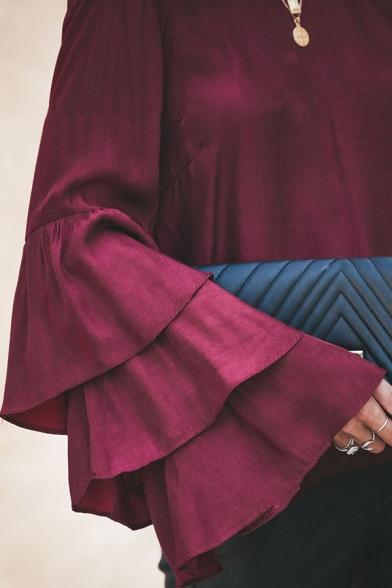 Stylish Whole Colored Boat Neck Layered Ruffles Long Sleeve Lace Panel V-Back Blouse Top