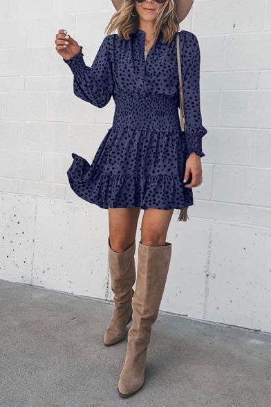 Sweet Plain Blouson Sleeve V-Neck Polka Dot Ruffled Trim Pleated Short A-Line Dress for Girls