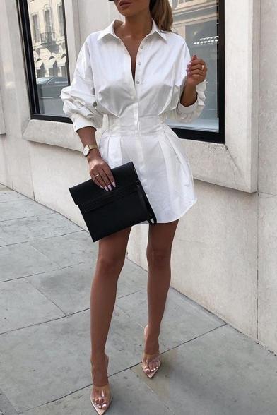Women's Trendy White Long Sleeve Lapel Collar Button Down Pleated Mini A-Line Shirt Dress