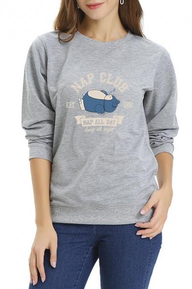 Womens Casual NAP CLUB Letter Cartoon Printed Long Sleeve Crew Neck Pullover Sweatshirt