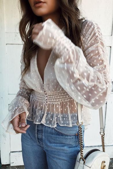 Womens Chic Plain White Polka Dot Printed V-Neck Trumpet Long Sleeve Sheer Mesh Blouse Top