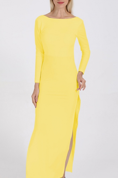 Womens Elegant Solid Color Long Sleeve Backless High Split Floor Length Cocktail Party Dress