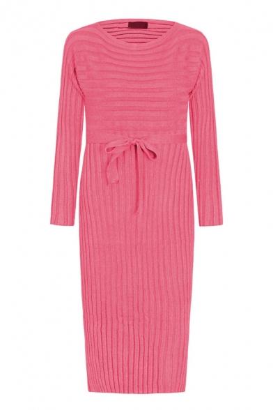 Basic Elegant Women's Long Sleeve Drop Shoulder Bow Tie Waist Knit Plain Midi Sheath Dress