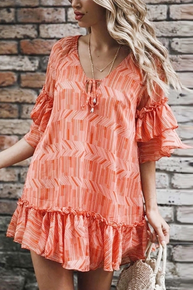 Casual Cute Girls' Tiered Sleeve V-Neck Bow Tied Stripe Patterned Ruffled Trim Mini Swing Dress in Red