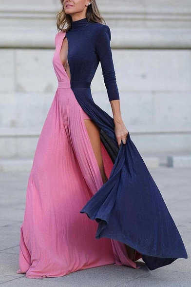 Classy Ladies' Long Sleeve Mock Neck Cut Out Contrasted High Slit Side Pleated Maxi Evening Flowy Dress in Pink