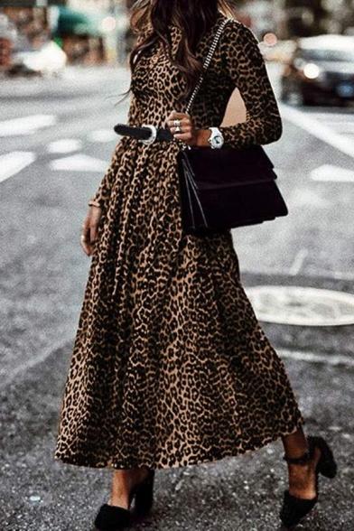Elegant Girls' Long Sleeve Crew Neck Leopard Print Maxi Pleated Flowy Dress without Belt