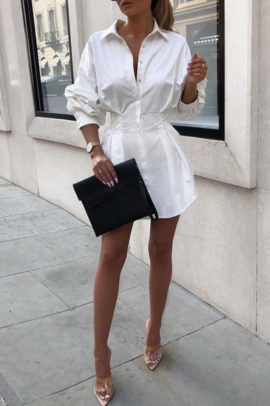 Fashion Long Sleeve Lapel Collar Button Down Plain Pleated Mini A-Line Shirt Dress for Women