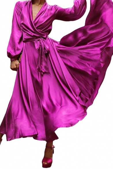 Ladies Fashion Plain Lapel Collar Long Sleeve Tied Waist Silk Satin Maxi Wrap Dress